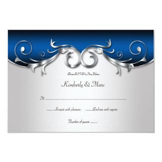 Tarjeta RSVP azul 3.5x5 y de plata elegante