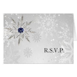 Tarjeta rsvp de plata del boda del invierno de los copos