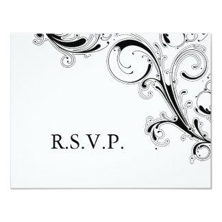 Tarjeta RSVP negro/blanco del remolino afiligranado