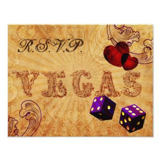 Tarjeta rsvp púrpura del boda de Vegas del vintage de los