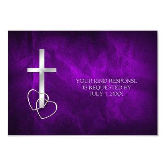 Tarjeta RSVP que se casa cruzado cristiano de plata