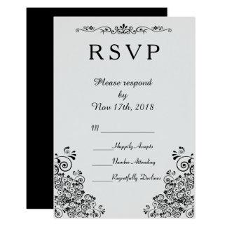 Tarjeta RSVP que se casa elegante elegante de plata retro