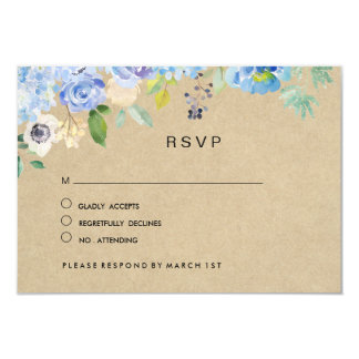 Tarjeta RSVP que se casa floral azul rústico
