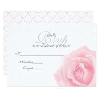 Tarjeta RSVP que se casa romántico color de rosa rosado