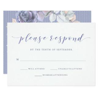 Tarjeta RSVP que se casan púrpuras y grises | suaves color