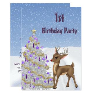Tarjeta Rudolph, copos de nieve y cumpleaños del árbol de
