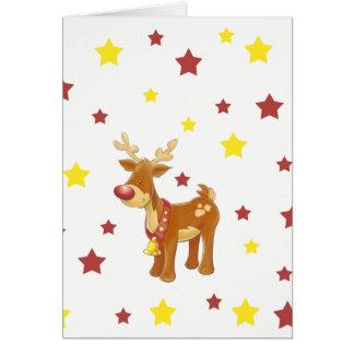Tarjeta Rudolph las estrellas sospechadas rojas del