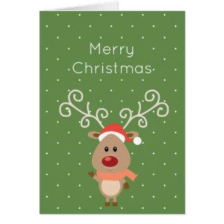 Tarjeta Rudolph lindo el dibujo animado sospechado rojo