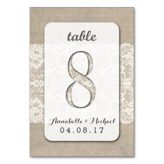 Tarjeta rústica 8 del número de la tabla del boda