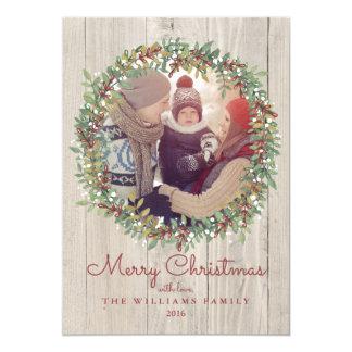 Tarjeta rústica de la foto del navidad de la invitación 12,7 x 17,8 cm