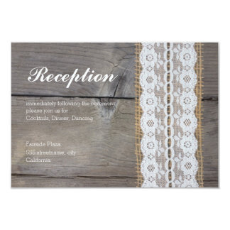 Tarjeta rústica de la recepción nupcial - lacetrim invitación 8,9 x 12,7 cm