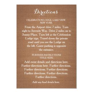 Tarjeta rústica de las direcciones del boda de la invitación 12,7 x 17,8 cm