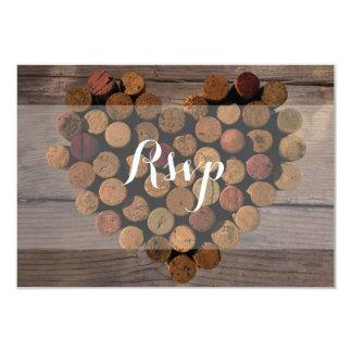 Tarjeta rústica de RSVP del corcho del vino Invitación 8,9 X 12,7 Cm