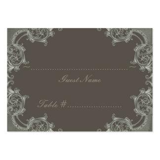 Tarjeta sabia del asiento del boda del borde del tarjetas de visita grandes