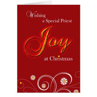 Tarjeta Sacerdote, alegría en el navidad