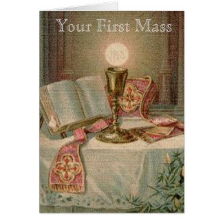 Tarjeta Sacerdote católico de la eucaristía de Missal de