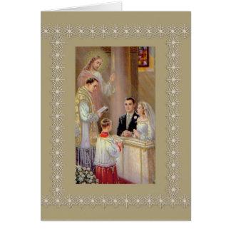Tarjeta Sacerdote de Jesús del novio de la novia de la