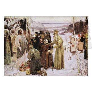 Tarjeta Sacerdotes rusos y adoración Jesús de los