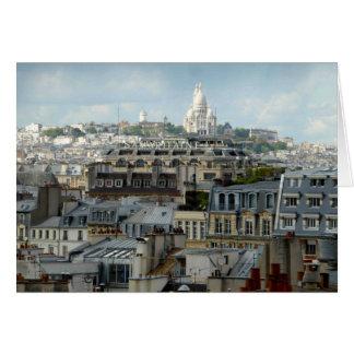 Tarjeta Sacre Coeur y tejados de París