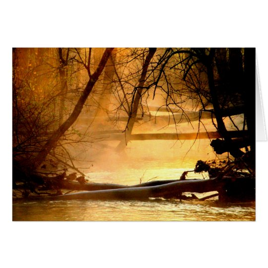 Tarjeta Salida del sol en el lago y el río Mad Huffman