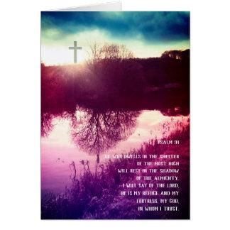 Tarjeta Salmo 91, hierba verde y una trayectoria