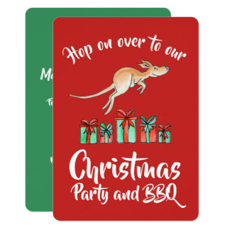Tarjeta Salto del canguro de la fiesta de Navidad sobre