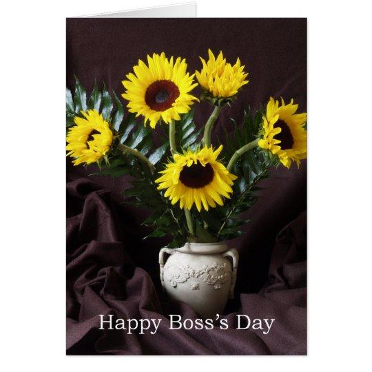 Tarjeta Saludo alegre del día de Boss -- Girasoles