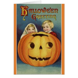 Tarjeta Saludo de Halloween del vintage