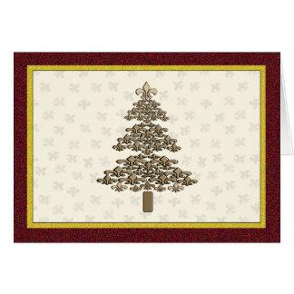 Tarjeta Saludo del árbol de navidad de la flor de lis