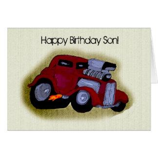 Tarjeta Saludo del coche del hijo del feliz cumpleaños