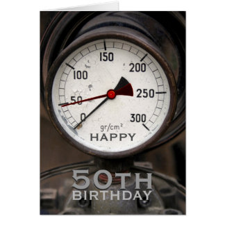 Tarjeta Saludo del cumpleaños del manómetro viejo de
