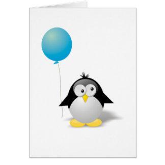 Tarjeta Saludo del pingüino del feliz cumpleaños