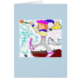 Tarjeta Saludo del tonto de Tarot (fondo del bígaro)