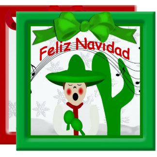 Tarjeta Saludo mexicano del hombre del Caroler del navidad