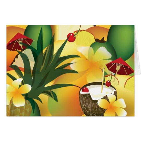 Tarjeta Saludo tropical hawaiano de la barra del tiki de
