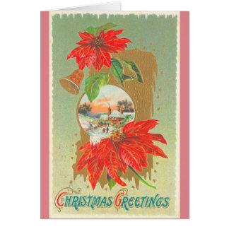Tarjeta Saludos Belces del navidad del vintage y flores