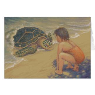 Tarjeta Saludos de Honu (tortuga de mar verde)