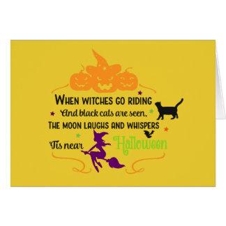 Tarjeta Saludos de las brujas y de las calabazas