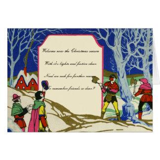Tarjeta Saludos de Robin Hood del navidad del Victorian