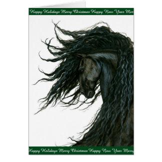 Tarjeta Saludos del caballo del día de fiesta frisios por