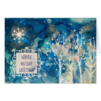 Tarjeta Saludos del invierno de la luz de las estrellas