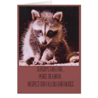 Tarjeta Saludos del navidad del equipo del mapache