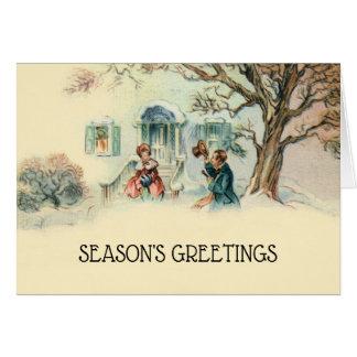 Tarjeta Saludos del navidad del Victorian del vintage