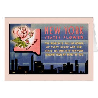 Tarjeta Saludos del vintage de la flor de Estado de Nuevo
