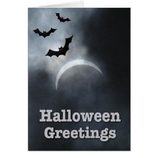 Tarjeta Saludos fantasmagóricos del eclipse de Halloween