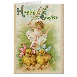 Tarjeta Saludos felices del deseo de Pascua del viejo