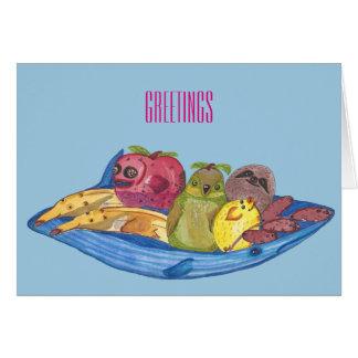 "Tarjeta Saludos - ""ilustracion lindo de los animales de la"