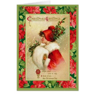 Tarjeta Saludos pasados de moda del navidad