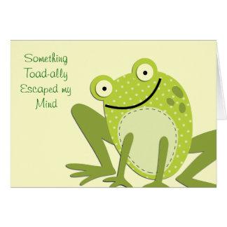 Tarjeta Saludos tardíos del cumpleaños de la rana