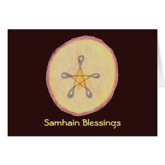 Tarjeta Samhain Apple corta al Pagan de Wiccan de la bruja